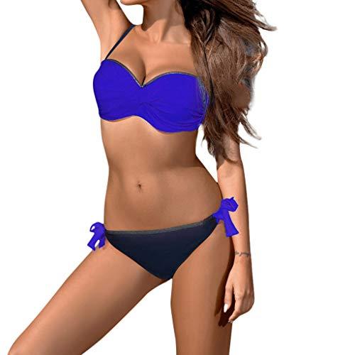 WOCACHI Swimsuits for Womens, Womens Padded Push-up Bra Bikini Set Swimsuit Bathing Suit Swimwear Beachwear 2020 Spring Deals Holidays Vacation Summer July 4th Blue
