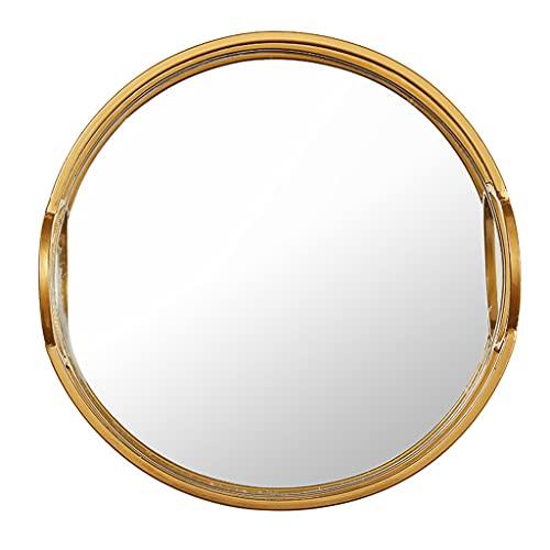 LWF Espejo De Pared Decorativo 36,5 Cm Marco Metal Redondo Espejo De Baño Círculo Alta Definición Espejo De Maquillaje para Sala De Estar Pasillo Dormitorio, Oro