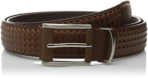 Stacy Adams Men's 34mm Diamond Embossed Leather Belt, Cognac, 38