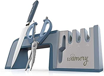 Wamery Knife Sharpener 4-Stage Kitchen Knife and Scissor Sharpeners - Easy to Use Manual Knife Sharpening Scissors Tool Restore Knives & Shears Quickly with Ergonomic Handle & Anti-Slip Safe Pads