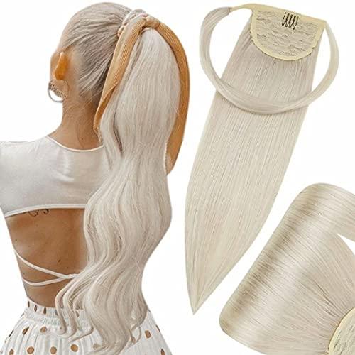 Hetto Haarverlangerung Haarteil Ponytail Echthaar Glatt Blonde Echthaar Zopf Extensions Naturlich Pferdeschwanz Echthaar Remy Extensions Platinblond #60 12 Zoll 70g