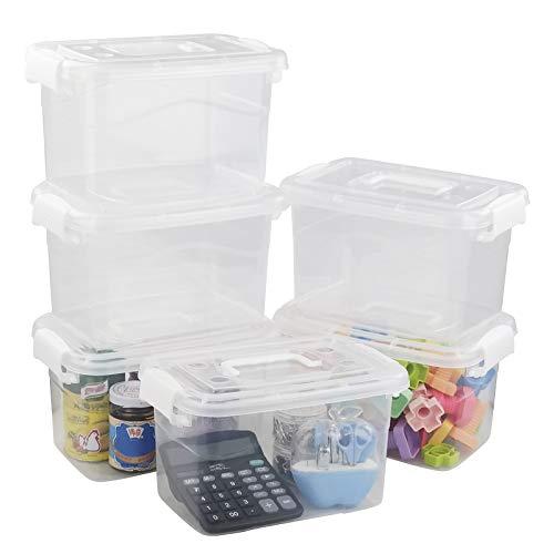 Ponpong Contenedores de Plástico para Almacenamiento con Tapas y Asas Cajas de Cierre Pequeñas, Transparentes y Blancas, 6 Paquetes