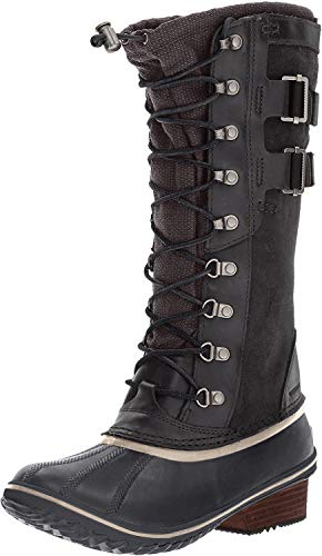 Sorel Women's Conquest Carly II Snow Boot, Black, Silver Sage, 9 B US