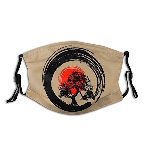 Bonsai Tree Japanese Calligraphy Rising Sun Zen Design Face Mask with 2 Filters, Reusable Washable Breathable Adjustable Face Cover, Balaclava Headwear for Fishing Hiking Cycling Men/Women Black