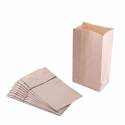 Extra Small Brown Paper Bags 3 x 2 x 6' party favors, Paper Lunch Bags, Grocery Bag, wedding favor bags, kraft bags, paper bags 100 per pack (Brown)