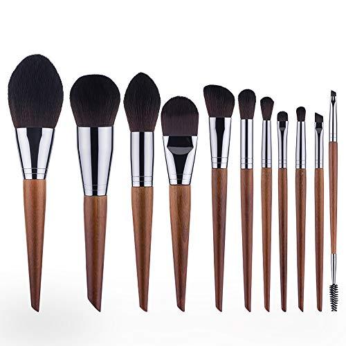 Pinceau De Maquillage Set 11 Pièces Cosmétiques Professionnels Brosses Ebony Cheval Pcs Cheveux Marque Synthétique Haut De Gamme Pinceaux Brosses Pour Fard À Joues Fondation,Marron