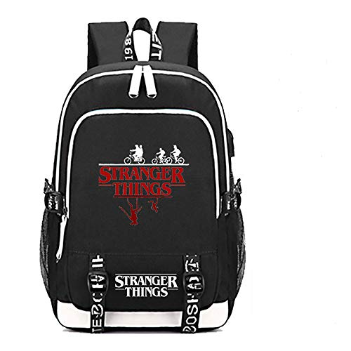 Strangerr Things Backpack with USB Charging Port for School Boys Girls Middle School Kids Bag