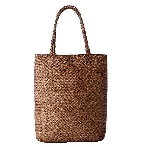 Zyyszma Tapis de paille en osier sacs à main en rotin pour dame femmes sac à bandoulière tissé plage voyage femme sac à main fourre-tout été 33x40 cm