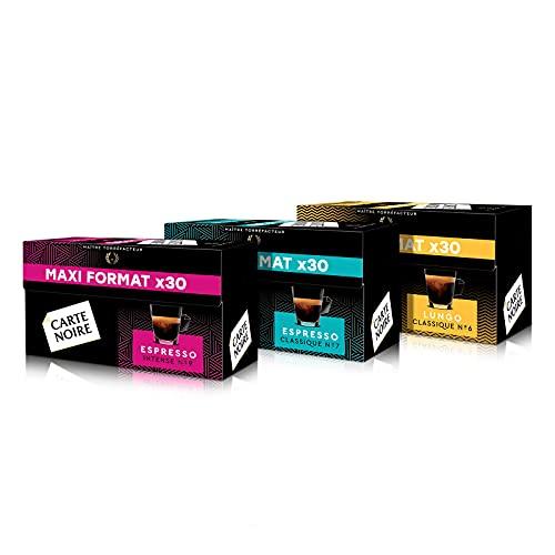 Carte Noire Café Espresso Assortiment Capsules Compatibles Nespresso - N°7 Classique - N°9 Intense - N°6 Lungo, 3 Paquets de 30 capsules (90 capsules)