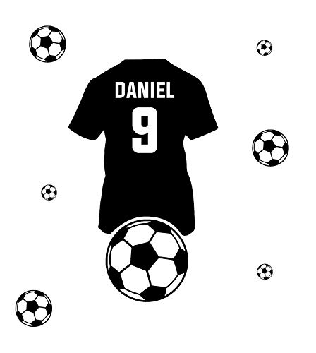 Etiqueta de la pared personalizada Nombre del niño y camiseta de fútbol Etiqueta de la pared de fútbol con el nombre de un niño Etiqueta de la pared Decoración moderna