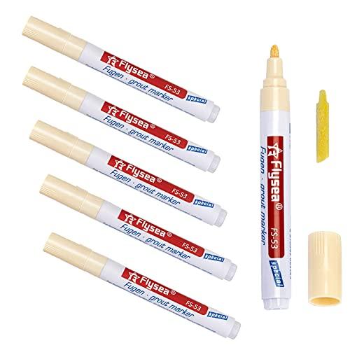Atuful 6 lápices para juntas de lechada, lechada, baldosas, rotulador reparador con punta de repuesto para azulejos de pared (beige)