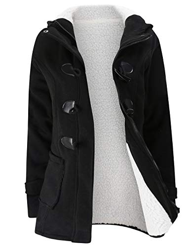 Moschifia Womens Black Pea Coat Winter Wool Blended Pockets Hooded Duffle Toggle Coat Outerwear