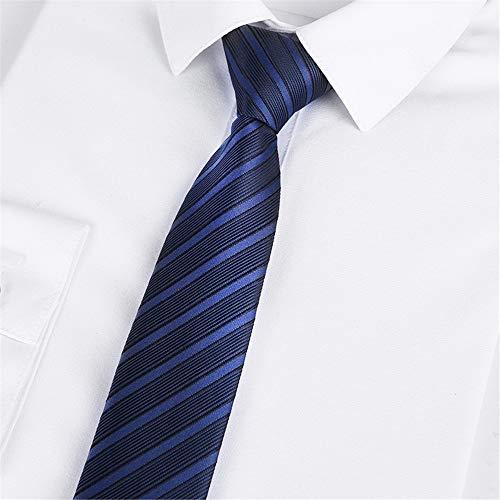 WUNDEPYTIE Schwarze Krawatte 46 * 5Cm Reißverschluss Student Männer Und Frauen Anzug Business Krawatte, Dunkelblaue Streifen
