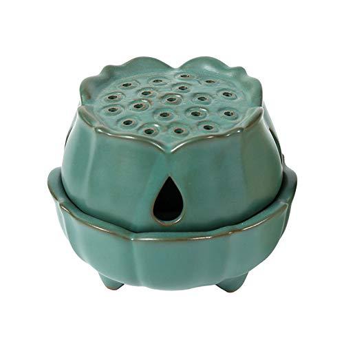 NAGU Incense Burner Holder,Handmade Ceramic Lotus Stick/Cone/Coil Incense Holders,Antique Home Decoration(Green)