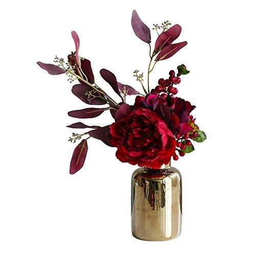 Künstliche Blume Nordic Artificial Pfingstrosen-Blumen-Set mit Vase, Wohnzimmer Party Hochzeit Gefälschte Blumenschmuck, Bouquet Dekoration Künstliche Blumen Ewige Blume