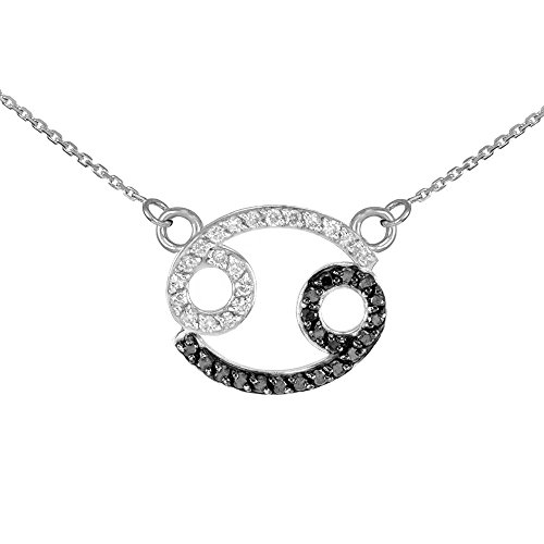 """Astrology Jewelry Double-Mounted 14k White Gold White and Black Diamond Cancer Zodiac Pendant Necklace, 22"""""""