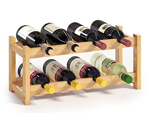 BAMEOS Wine Rack Free Standing 8 Bottle 2 Tier Bamboo Wine Racks Countertop Cabinet Wine Holder Wine Storage Shelf for Kitchen, Bar, Pantry, Wine Cellar, Basement, Countertop (16.85 L x 9.25W x 7H)