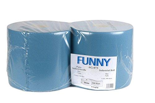 Funny - Rollos de papel de limpieza (3 capas, 26 cm, 500 hojas, 1 x 2 unidades), color azul