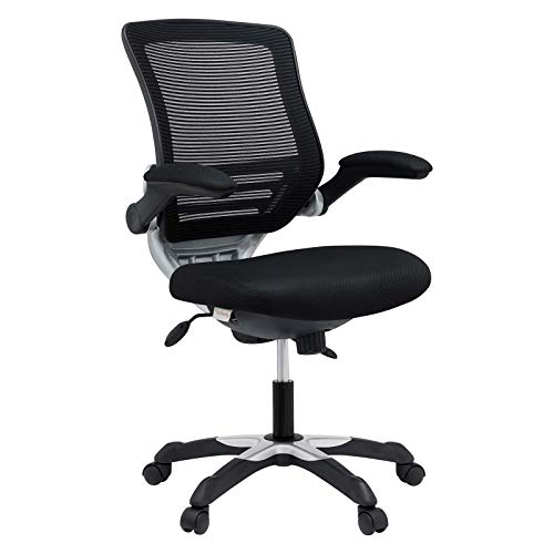 Modway Edge Mesh Back and Mesh Seat Office Chair In Black With Flip-Up Arms in Black