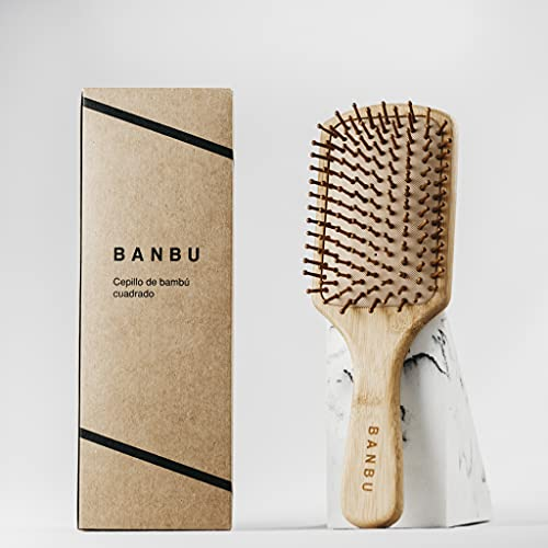 Cepillo Cuadrado para el cabello de bambú y caucho natural Banbu