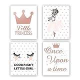 Little Princess Rose Gold Foil Print & Lovely Dancing Girl Painting Shine Eyes Lashes Cardstock Art Poster For Kids Girl Bedroom Decor(set of 4, 8'' x 10'',Unframed)