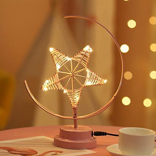 BAIHAO Forma de Estrella LED Luz de Noche de Hierro Forjado Dormitorio Moderno Luz de cabecera Carga USB romántica Pentagrama Decoración de cumpleaños Lámpara de Mesa de Vacaciones