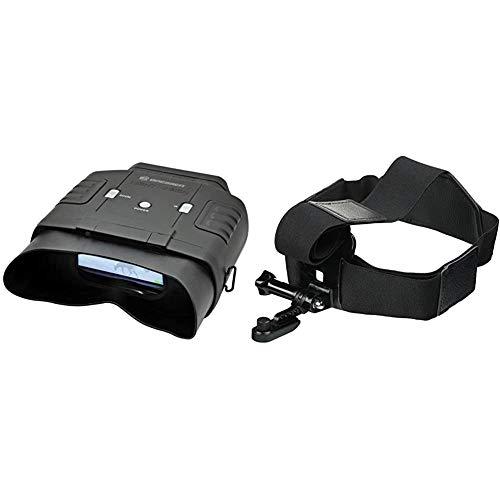 Bresser digitales binokulares Nachtsichtgerät 3x20 mit großem Display für Komfortables Beobachten & Kopfhalterung für Action Cams & NV Binokular mit elastischen Bändern zur individuellen Anpassung