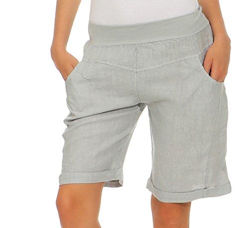 Mississhop 276 Damen Leinenshorts Bermuda lockere Kurze Hose Freizeithose 100% Leinen Shorts Elegante Haremshose mit Knöpfen Sommer Strand Grau XXL