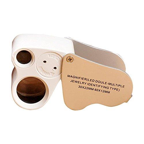 Demiawaking 40X 60X Pocket Sieraden Loupe Vergrootglas met 2 LED Lights Draagbare Opvouwbare Verrekijker Oog Vergrootglas Lens voor Sieraden Diamanten Gems Munten Stempels Rotsen