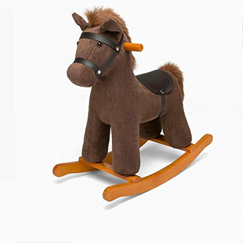 Rockers Ride-ons Baby Wooden Rocking Horse for 12-72 Months Boys and Girls Plush Toys Children's Kid Toddler Cartoon Stuffed Animal Seat Soft Rocke Chair Birthday Gift,Pink (Color : Brown) SKYJIE