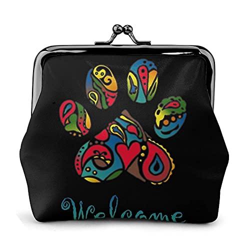 Carteras de Cuero Welcome Dog Paws Wallet Buckle Leather Travel Makeup Change Purse Women Gift