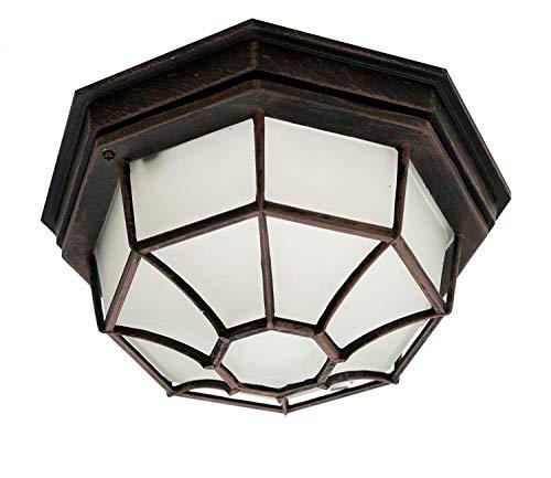 Trans Globe Lighting 40582 RT Traditional One Flushmount Lantern Outdoor-Post-Lights, 5-Inch, Bronze/Dark