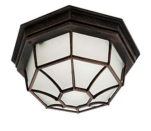 Trans Globe Lighting Trans Globe Imports 40582 RT Traditional One Light Flushmount Lantern from Benkert Collection in Bronze/Dark Finish, 11.00 inches, 5-Inch, Rust