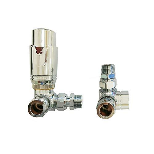 Aeon Chrome Corner Thermostatic Radiator ventiel - Inc. Senso TRV Head + Lockshield Set - 15mm