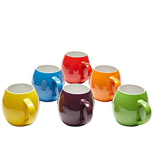 Kaffeebecher Keramik - Buntes Geschirr Set Kaffee Becher und Tee Becher - Cappuccino Tassen Set - Kaffeebecher Bunt - Kaffeetassen 6er Set - 415 ml