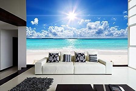 Fotomural Vinilo para Pared Playa Relax | Fotomural para Paredes | Mural | Vinilo Decorativo | Varias Medidas 100 x 70 cm | Decoración comedores, Salones, Habitaciones.