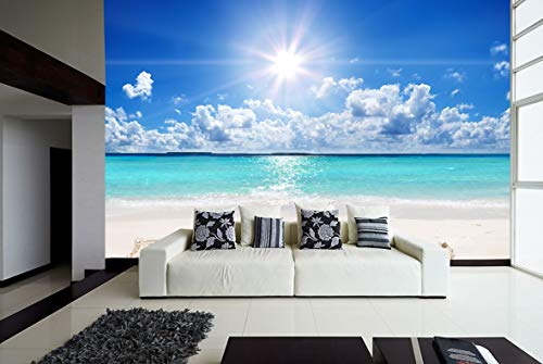 Fotomural Vinilo para Pared Playa Relax | Fotomural para Paredes | Mural | Vinilo Decorativo | Varias Medidas 200 x 150 cm | Decoración comedores, Salones, Habitaciones.