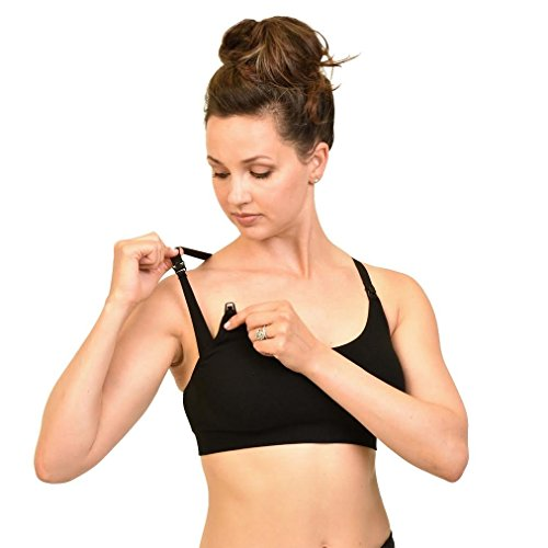 Bamboobies Yoga Nursing Bra | Maternity Underwear for Breastfeeding | Black | XL| X-Large
