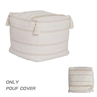 """blue page Boho Neutral Decorative Square Unstuffed Pouf - Beige Braided Handwoven Casual Ottoman Pouf Cover with Tassels & Soft Tufted, Cute Foot Rest/Cushion for Bedroom Living Room, 18""""x18""""x16"""""""