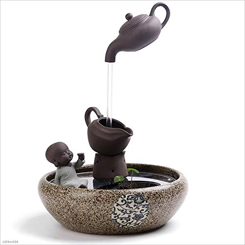 Indoor Fountains Tabletop Fountains Chinese Style Ceramic Teapot Fish Tank Humidifier Water Fountain Room Decoration Tabletop Fountain Decoration Lucky Office Home Décor Tabletop Indoor Fountain