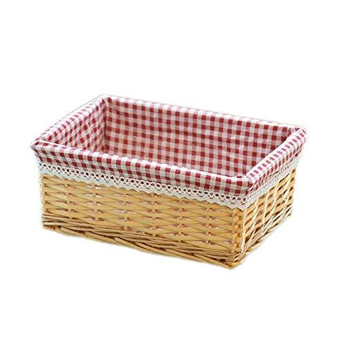 Demarkt wilgenmand rotan picknickmand gevlochten oogstmand met stoffen bekleding tuinmand, wilgen/stro