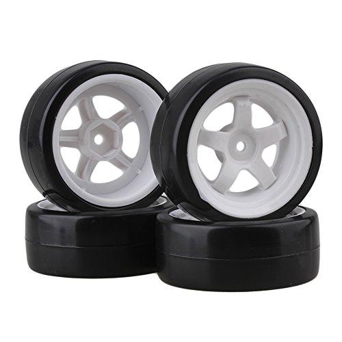 SZDSHL Durable 5 Speichen Weiß Felge Felgen & Reifen Reifen White + Black für RC 1:10 Drift Car & On Road Car 4er Pack