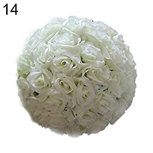 schicj133mm 8 Inch Wedding Artificial Rose Silk Real Flower Ball for Bridal Bouquets,Home Outdoor Party Centerpieces Decorations,Sky Blue, Noble Purple, Elegant White, Hot Red