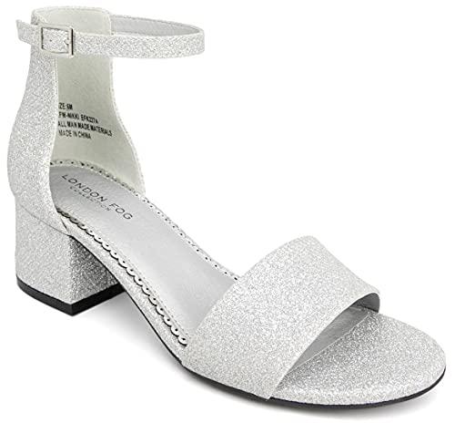 LONDON FOG Women's Nikki Low Two Piece Block Heel Dress Shoe Ladies Ankle Strap Pump Sandal Silver 8