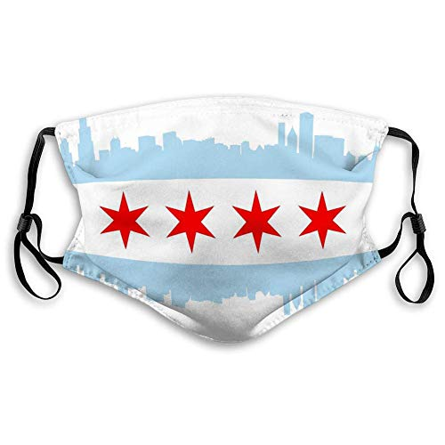 Washable Breathable Shield Chicago Flag City high Rise Buildings Skyline Mouth Covers