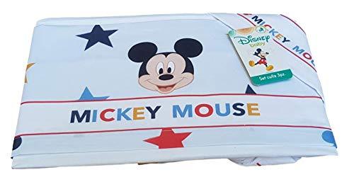 Disney Parure de lit 3 pièces pour bébé avec landau et berceau en 100 % coton (Culle/Carrozina (poussette), EC0206WD MICKEY 7026 Ciel)