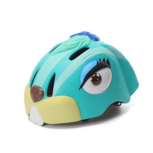 QTWSJ Conejo Azul/Verde/Amarillo Bicicleta Ciclismo Casco,Ultraligero Transpirable, para Niños Pequeños, Protección Seguridad,...