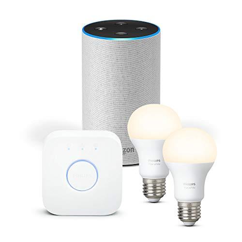 Amazon Echo (2ème génération), Tissu sable + Kit de démarrage Philips Hue...