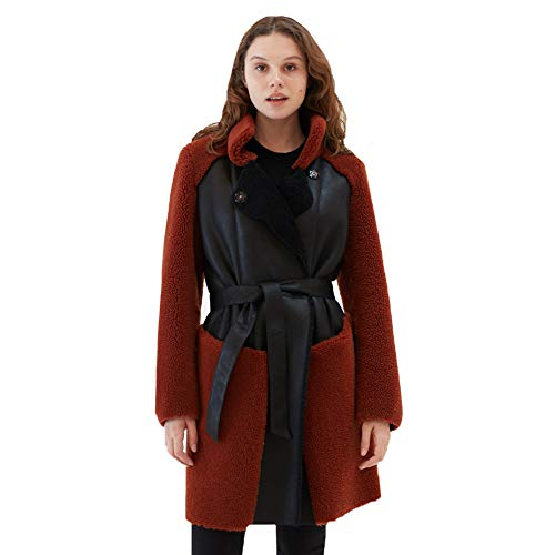 Womens Casual Shearling Coat Turkey Wool Coat Long Fur Jacket Womens Trench Coat (Black&Red, XL)
