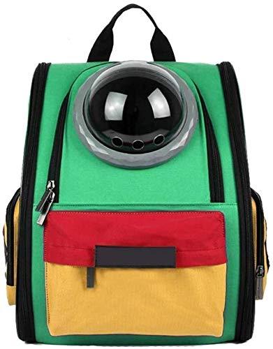 FQCD Haustier-Rucksack-Fördermaschine atmungsaktive wasserdichte Raumkapsel Astronaut Blase Haustier-Katze-Hundewelpen-Fördermaschine im Freien beweglichen Premium- (Color : Green)